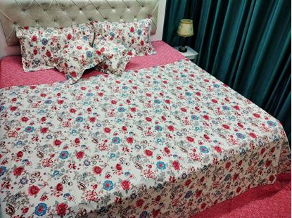 Picture of 100% COTTON VIJAY MILL DOUBLE BED SHEET CUSHION SET*